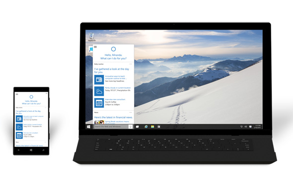 Cortana i Windows 10 på smartphone og en bærbar PC