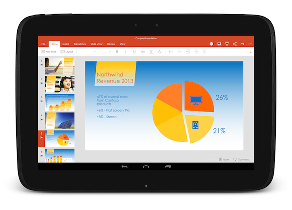 Microsoft Office PowerPoint på Android tablet
